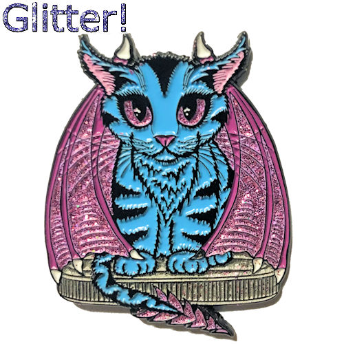 Blue Dragon Kitten Open Edition Enamel Pin Tigerpixie.com
