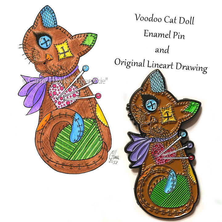 Voodoo Cat Doll Original Line Art & Pin Set