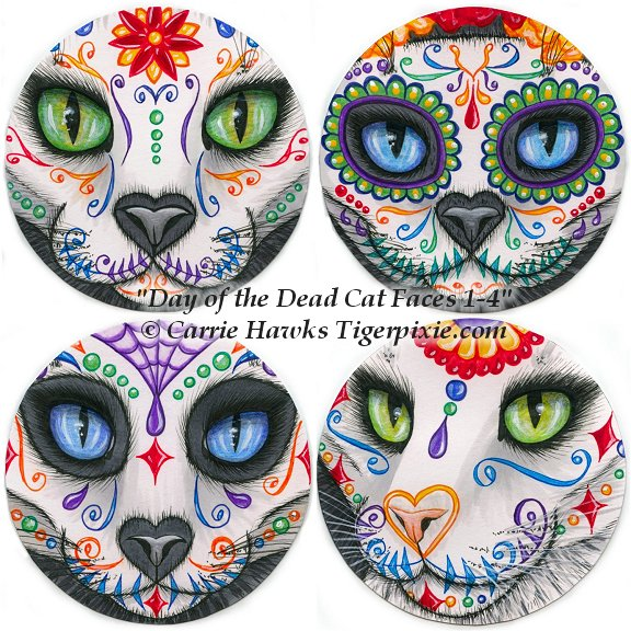 Day of the Dead Cat Faces 1-4 by Carrie Hawks, Tigerpixie.com for The Coaster Show 2016