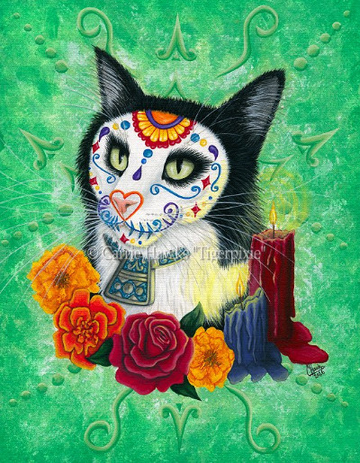 Day of the Dead Cat Candles by Carrie Hawks, Tigerpixie.com