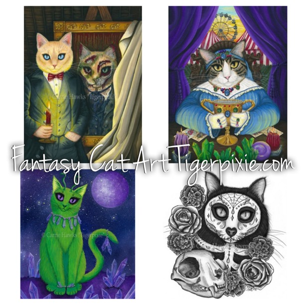 New Art! Dorian Gray, Madame Zoe, Alien Cat, Day of the Dead Cat Skull
