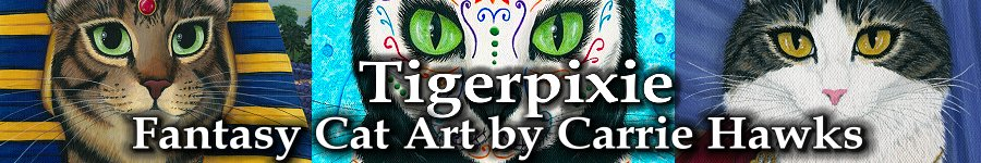 Tigerpixie Art Studio, Fantasy Cat Art by Carrie Hawks