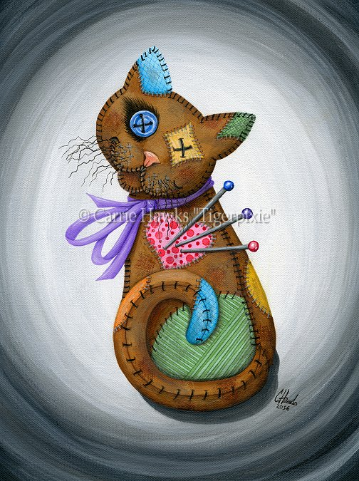 Voodoo Cat Doll Painting, Carrie Hawks, Tigerpixie.com