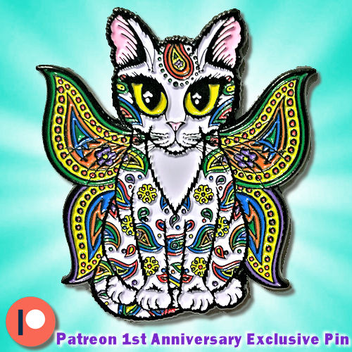 Tigerpixie 1st Year Patreon Anniversary Enamel Pin