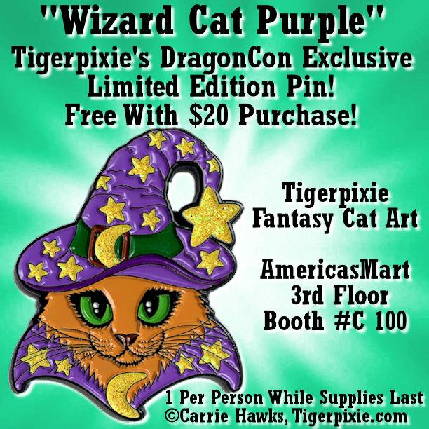 DragonCon Exclusive Pin Wizard Cat Purple