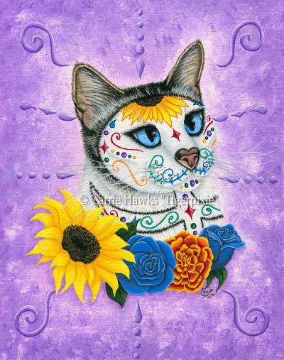 New Art! Day of the Dead Cat Sunflowers
