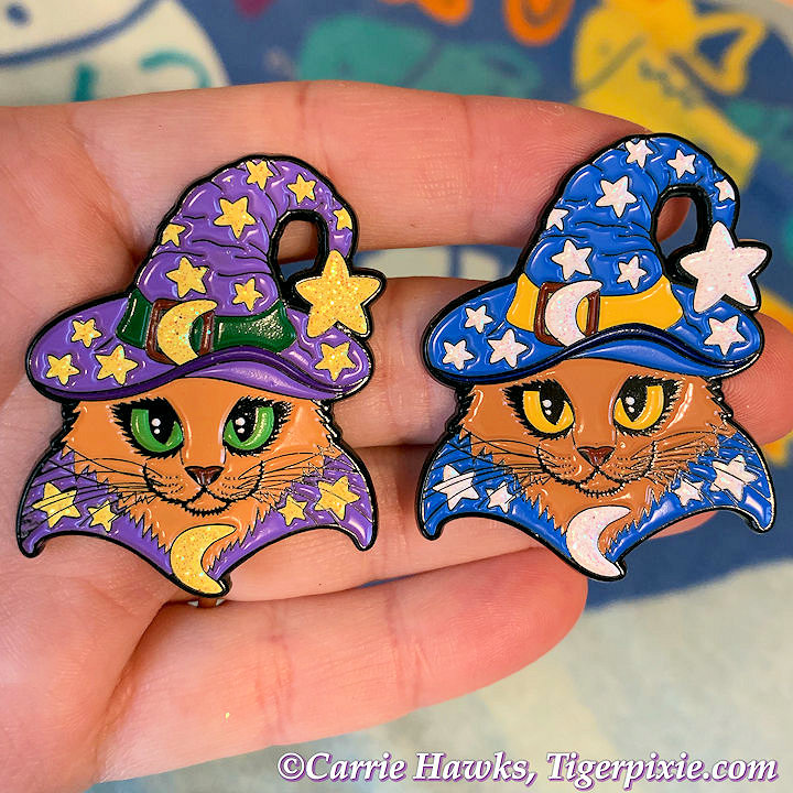 Wizard Cat Purple and Wizard Cat Blue Enamel Pins