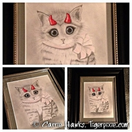 LIttle Red Horns Drawing Framed