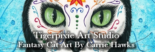 Tigerpixie Art Studio, Fantasy Cat Art by Carrie Hawks