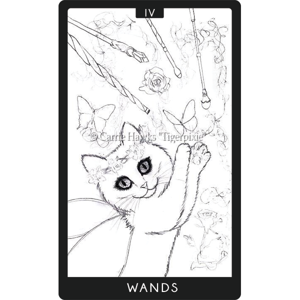 Carrie Hawks, 4 of Wands for 78 Tarot Rough Sketch