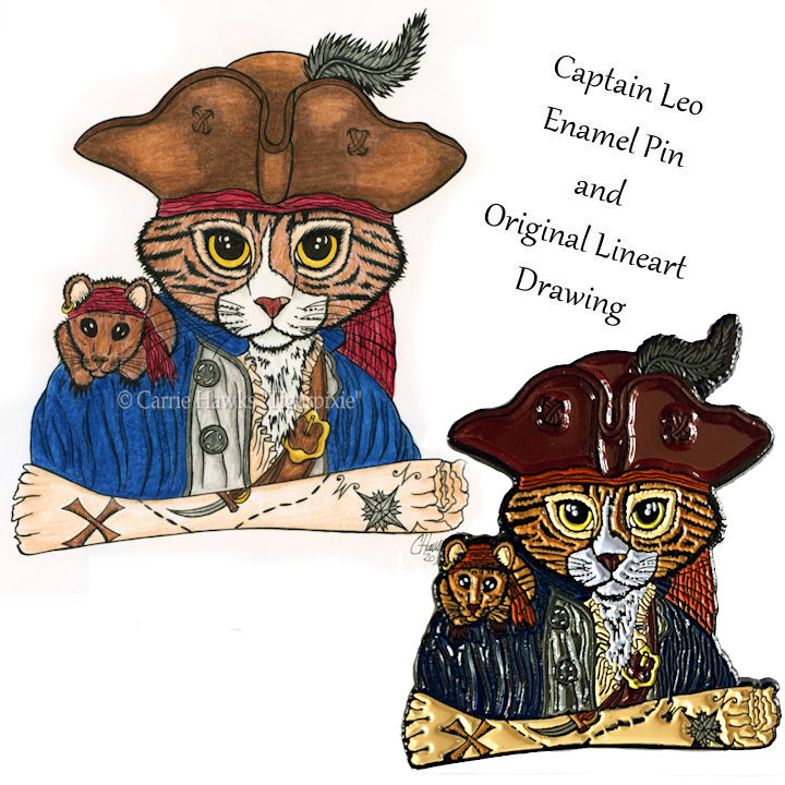 Captain Leo Original Line Art & Pin Set