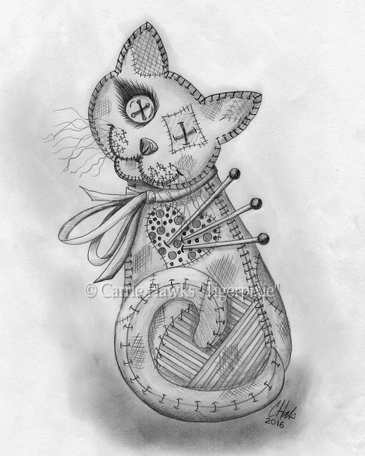 Voodoo Cat Doll Drawing, Carrie Hawks, Tigerpixie.com