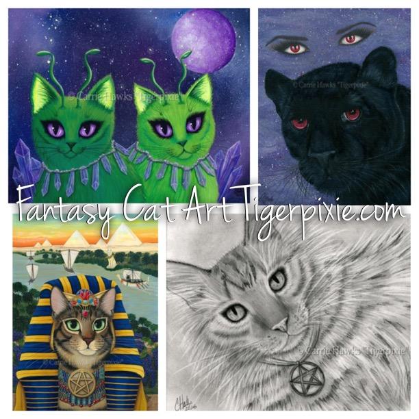 New Art!, Alien Cats, Carmilla, Pharaoh Cat, Page of Pentacles