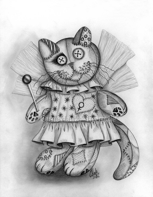 Voodoo Empress Fairy Cat Doll by Carrie Hawks, Tigerpixie.com