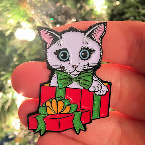 Holiday Kitten Boy Enamel Pin