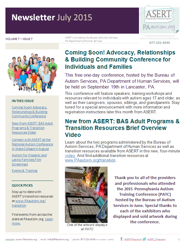 Image of the cover of the July newsletter