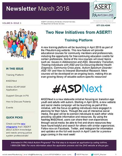 First page of this months ASERT newsletter