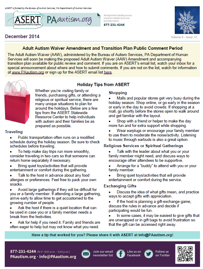 Image of the cover of the December newsletter