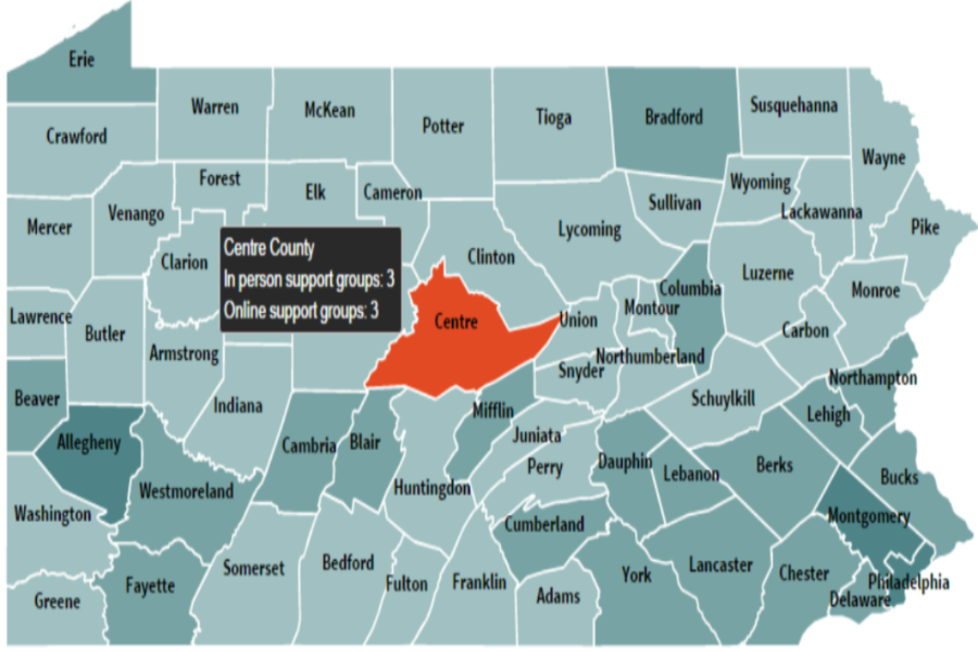 An image of the state of Pennsylvania divided up by counties