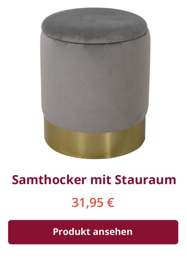 Samthocker mit Stauraum und Deckel