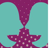 Two teal talking heads on purple background