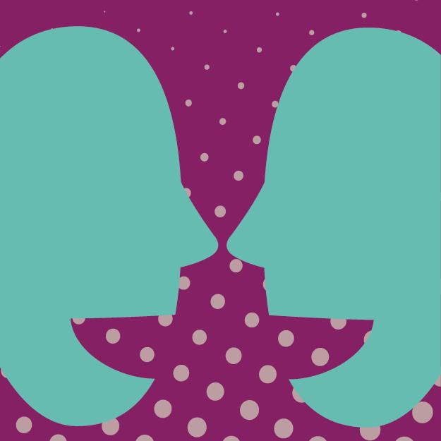 Teal talking heads on purple background