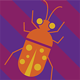 Orange Bug on Purple Background