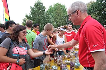 Dean Manderscheid with students