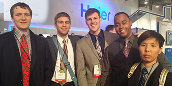 Students in front of Haier booth at Consumers Electronics Show
