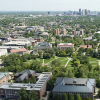 Ohio State Oval with Columbus skyline in background