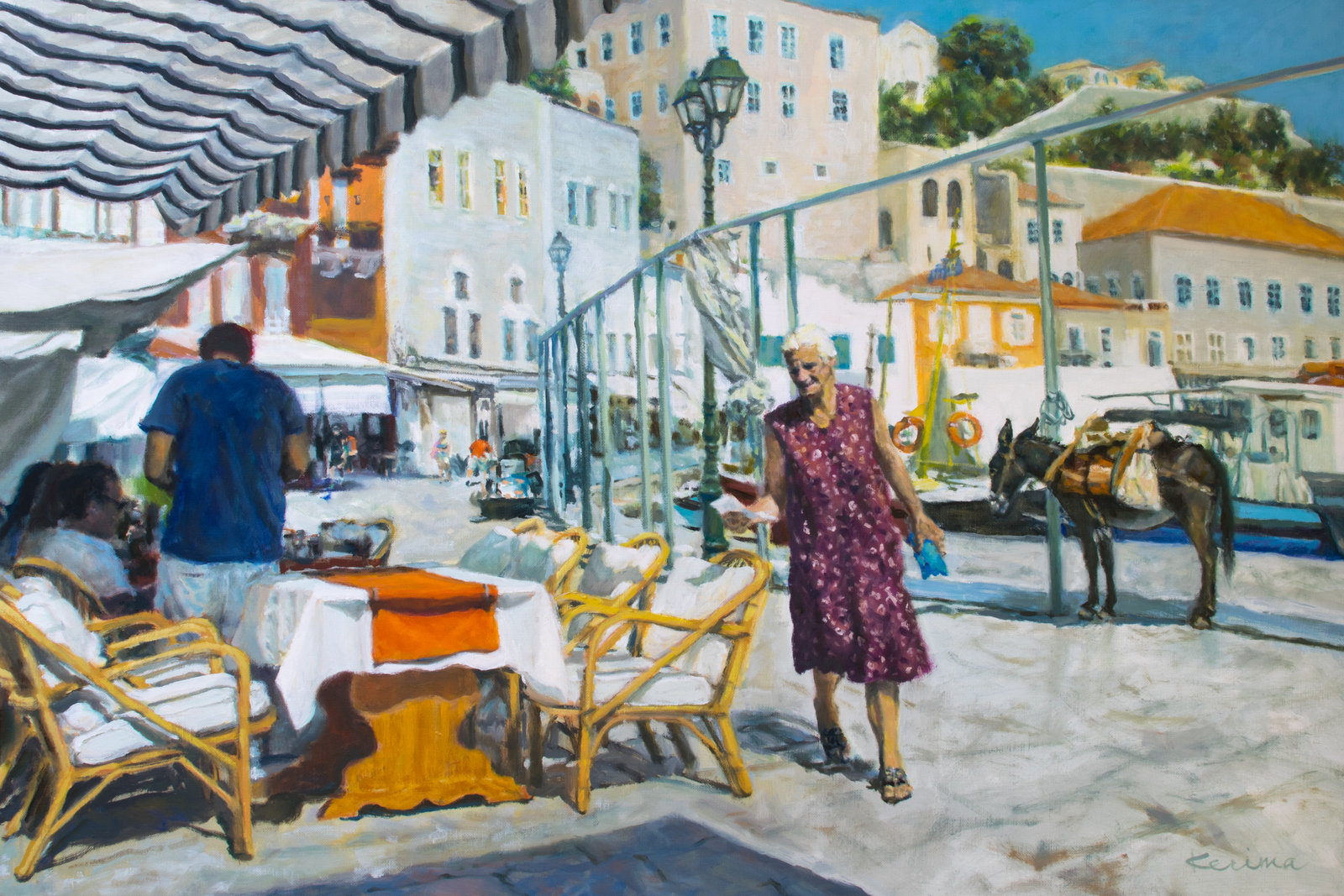 Painting, Street of Hydra, Greece