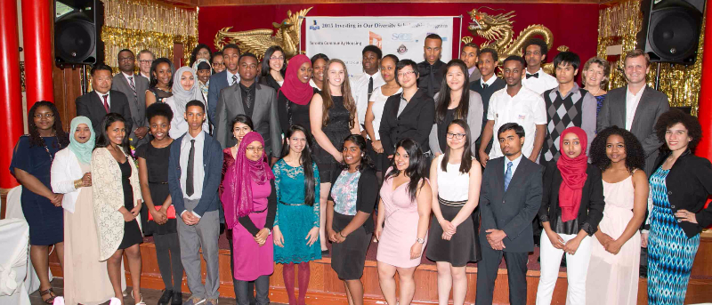 Scholarship recipients with community partners and sponsors