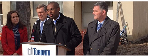 Left to right: Deputy Mayor Ana Bailão, Mayor John Tory, Toronto Community Housing board member Colin Lynch and Deputy Mayor Glenn De Baeremaeker.