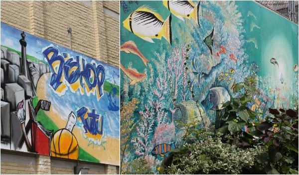Images of the two community murals designed by Bishop Tutu residents.