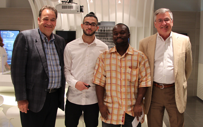 From left to right: Frank Giannone, President, FRAM Building Group; award recipients Raed Salah Eid and Samuel Baah; and Greg Spearn, President and CEO (Interim), Toronto Community Housing.