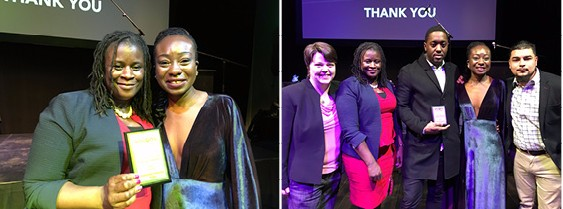 Left photo: Angela Cooke and  Dr. Eugenia Duodu. Right photo: (left to right): Sherri Hanley, Angela Cooke, Jamal Beckles,  Dr. Eugenia Duodu and David Morales.