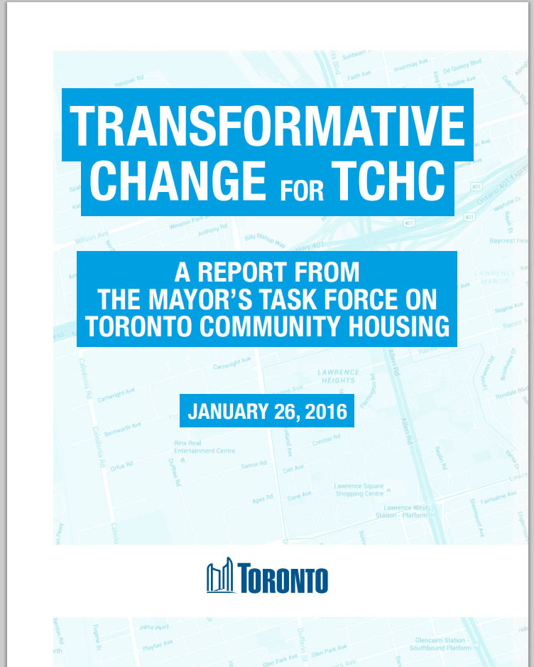 Cover of the Mayor's Task Force final report, Transformative Change for TCHC.