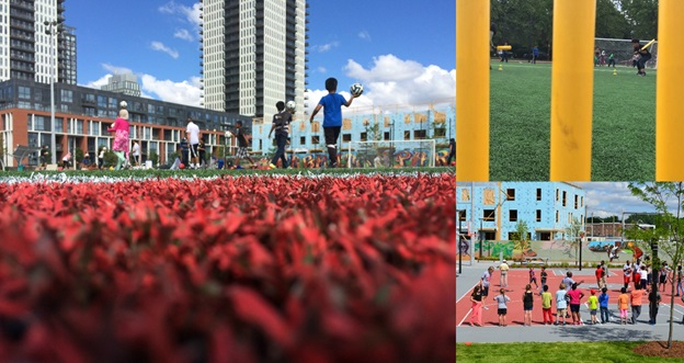 A photo collage highlighting moments from the Regent Park Athletic Grounds grand opening.