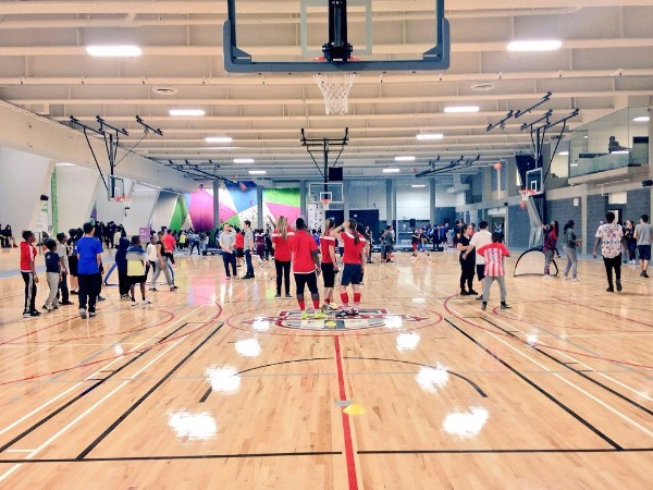 A photo of the MLSE LaunchPad's basketball courts.