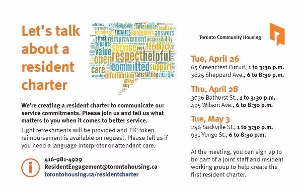 An image of the let's talk about a resident charter consultations schedule.