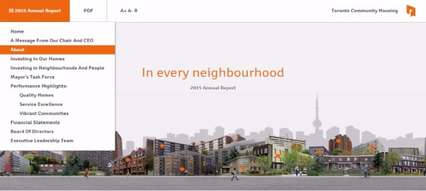 A screenshot of the 2015 Annual Report's home page.