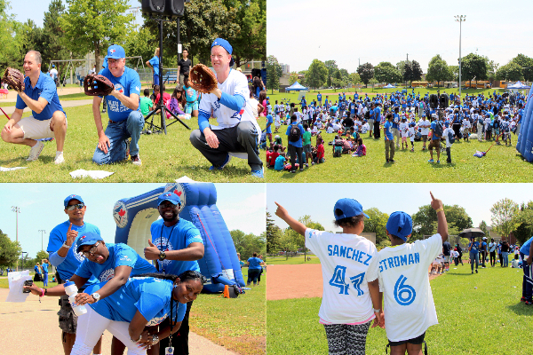 Photo collage of children, staff and partners celebrating Rookie League's opening day.