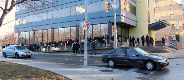 Youth lined up around Toronto Community Housing's 931 Yonge St. head office, waiting to be interviewed by Toronto Community Housing staff.