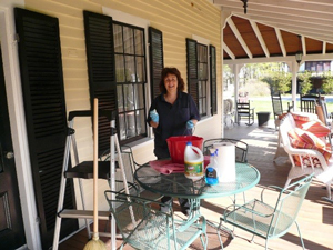 Yellow House Bed & Breakfast porch spring cleaning