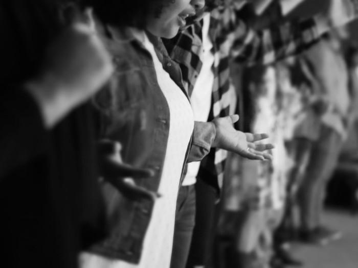 Pastor leading prayer