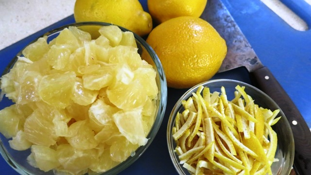 chopped standard lemons and peel