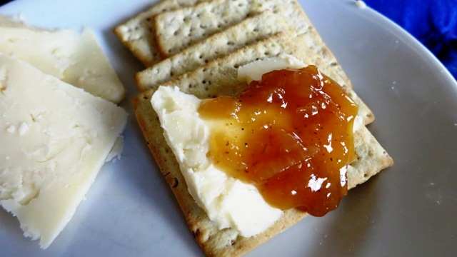 Caramelized Onion-Maple Jam on cracker with cheese