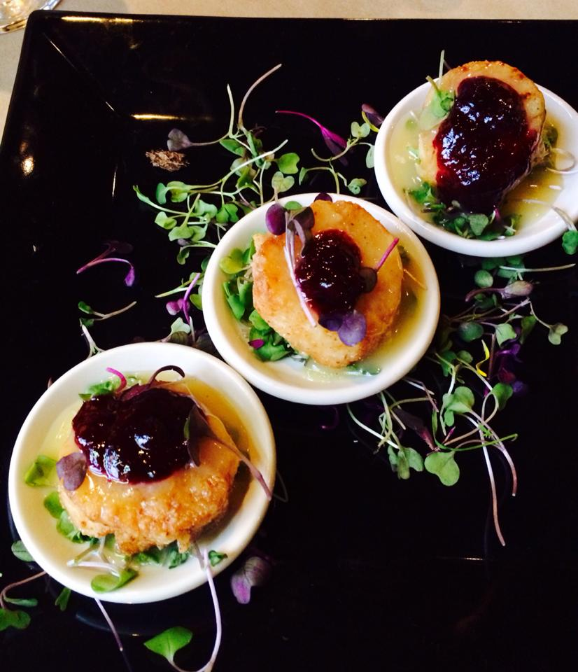 seared scallops with blueberry thai basil preserves