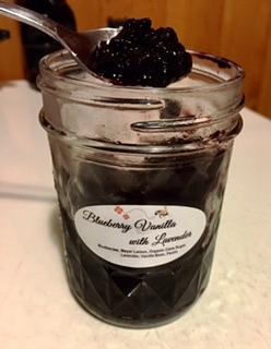 jar of blueberry vanilla lavender preserves