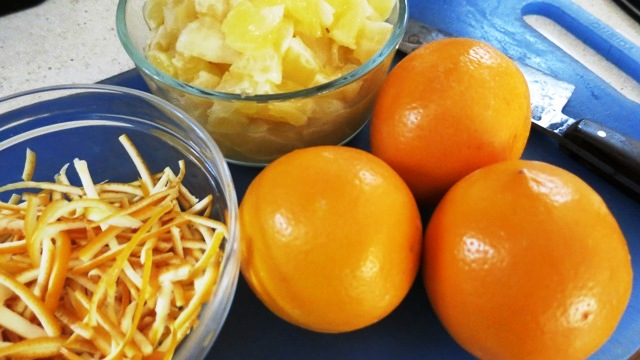 chopped Meyer lemon and peels